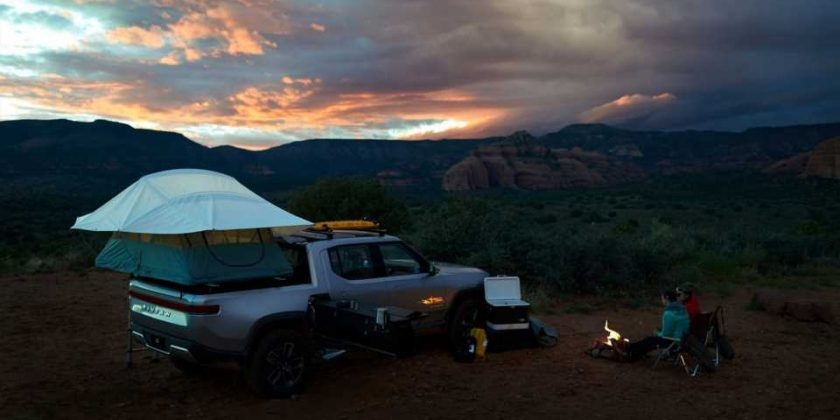 See Rivian R1t Adventure Truck S Awesome Stowaway Camp Kitchen And Shelter In Action Automoto Tale
